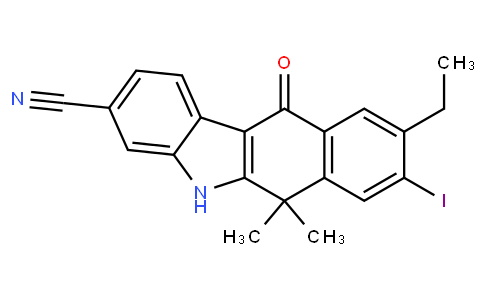 62703 - 9-ethyl-8-iodo-6,6-dimethyl-11-oxo-6,11-dihydro-5H-benzo[b]carbazole-3-carbonitrile   CAS 1256584-80-1